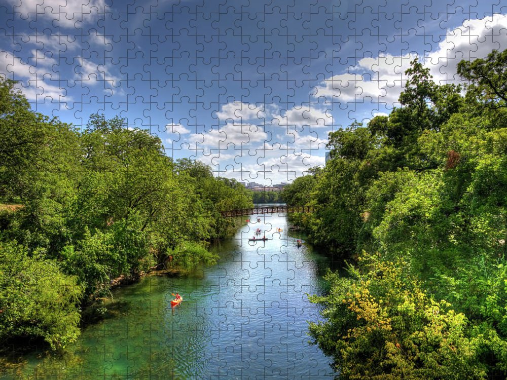 Recreational Pursuit Puzzle featuring the photograph Canoes On Town Lake In Downtown Austin by Metschan