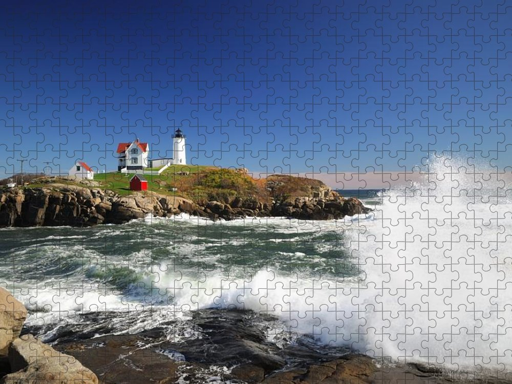 Water's Edge Puzzle featuring the photograph Cape Neddick Maine by Gmnicholas