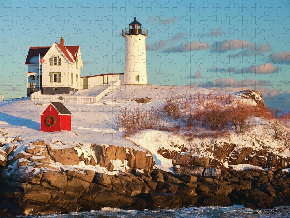 Snow Puzzle featuring the photograph Cape Neddick Nubble Light by Kickstand