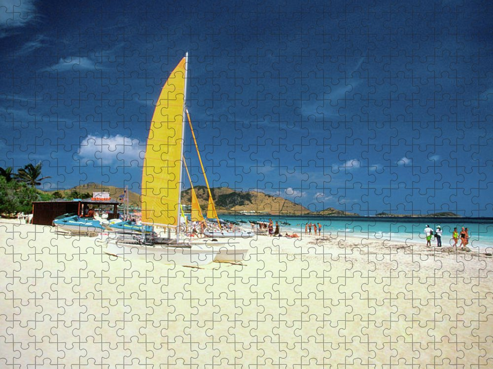 Orient Beach Puzzle featuring the photograph Catamarans And People On Martin Orient by Medioimages/photodisc