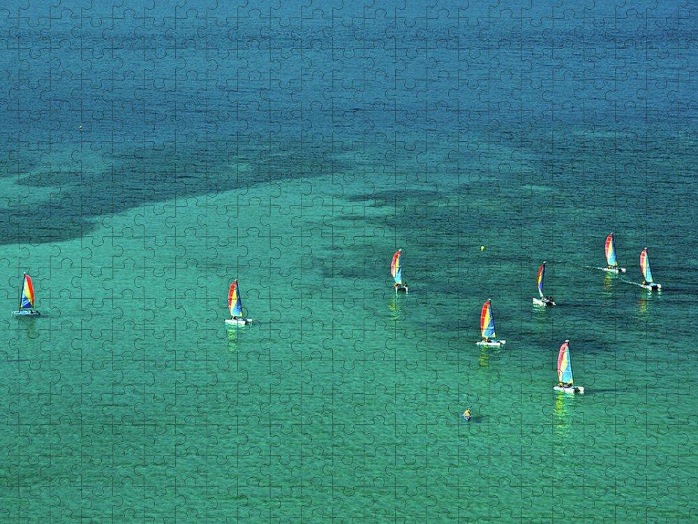 Scenics Puzzle featuring the photograph Catamarans, Catseye Bay, Hamilton by Robin Smith