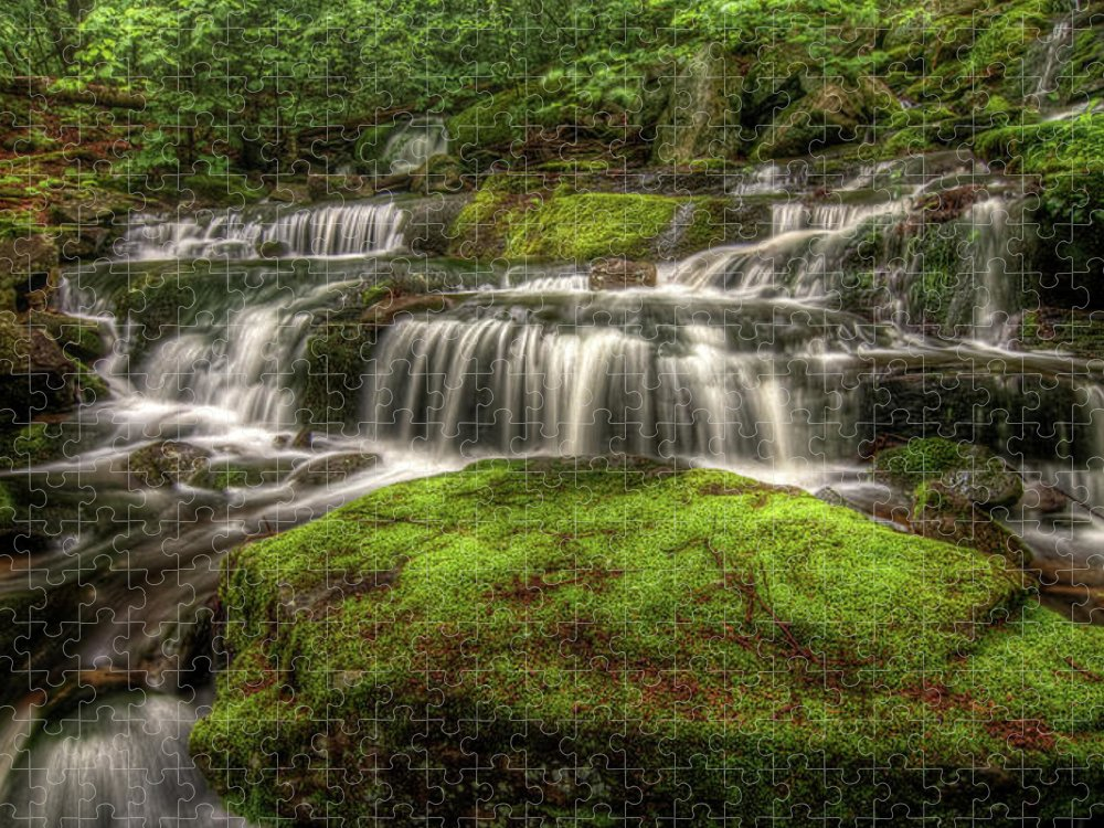 Scenics Puzzle featuring the photograph Catskill Waterfall by Kevin A Scherer