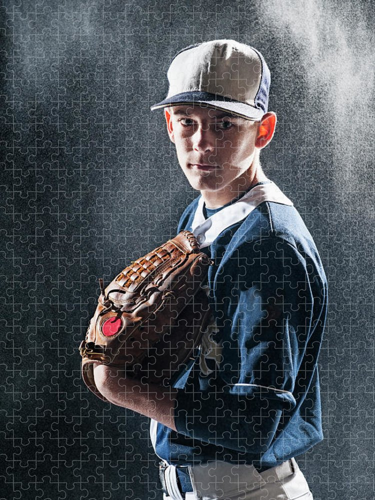 Baseball Cap Puzzle featuring the photograph Caucasian Baseball Player Standing by Erik Isakson