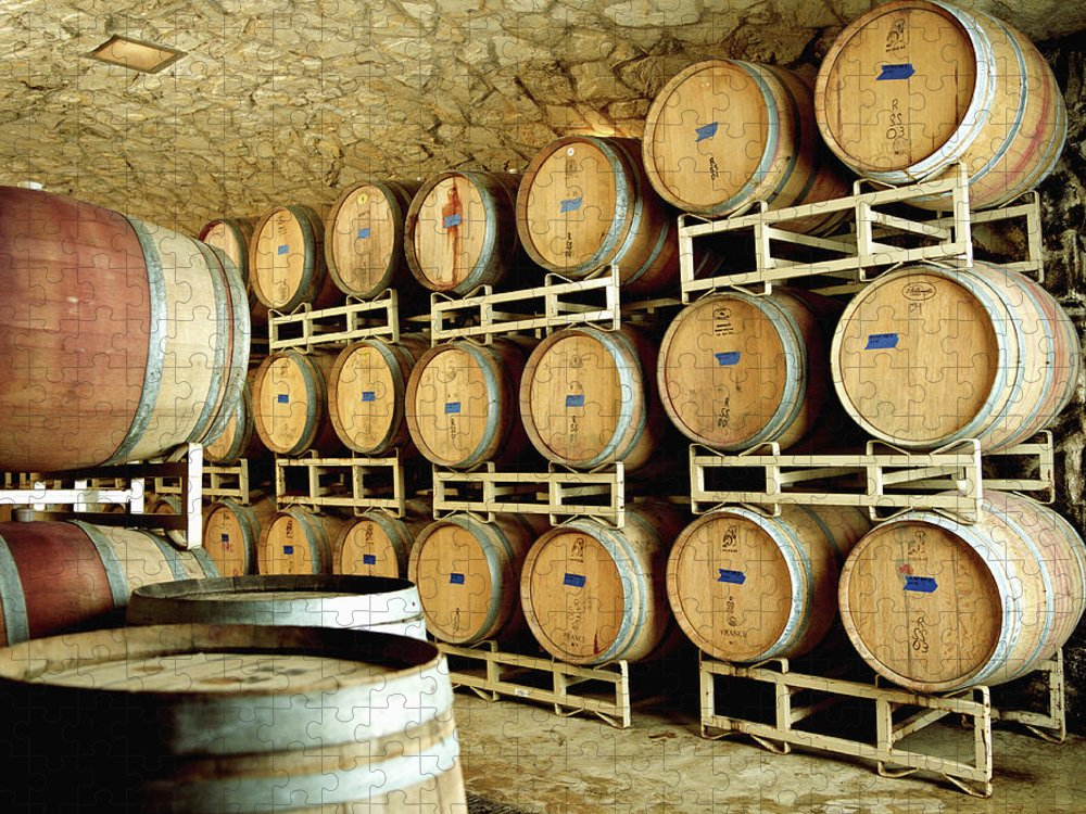 Aging Process Puzzle featuring the photograph Cellar In Winery by Siri Stafford