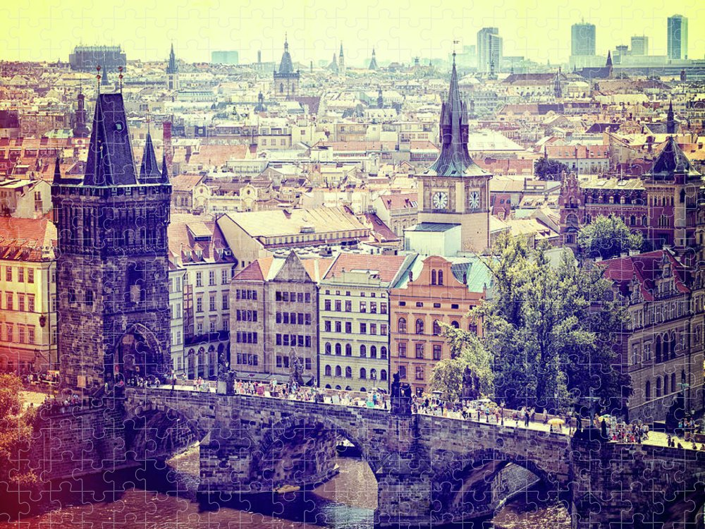 Panoramic Puzzle featuring the photograph Charles Bridge, Prague by Pawel.gaul