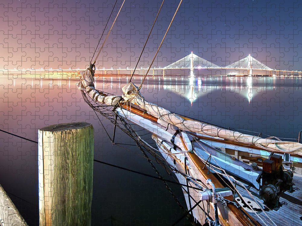 Tranquility Puzzle featuring the photograph Charleston Harbor by Sky Noir Photography By Bill Dickinson
