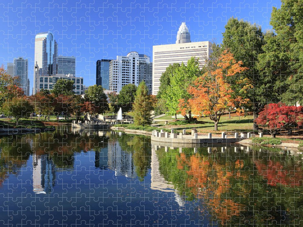 North Carolina Puzzle featuring the photograph Charlotte Skyline And Pond, North by Jumper