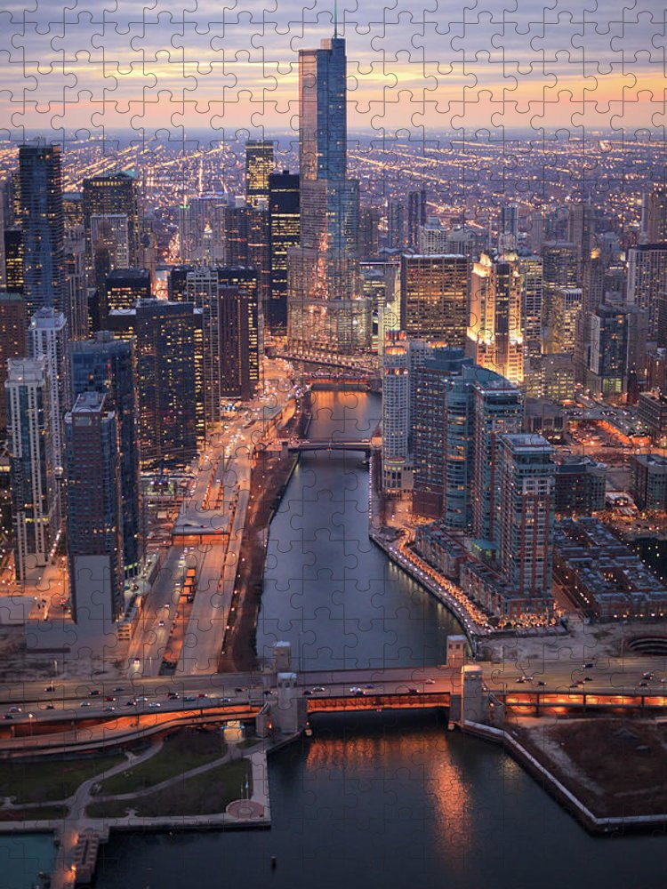 Tranquility Puzzle featuring the photograph Chicago Downtown - Aerial View by Berthold Trenkel