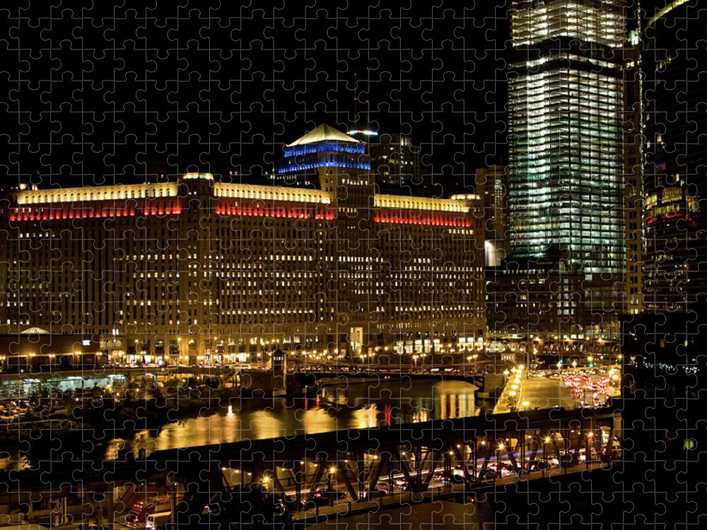 Chicago River Puzzle featuring the photograph Chicago Merchandise Mart by Helpinghandphotos