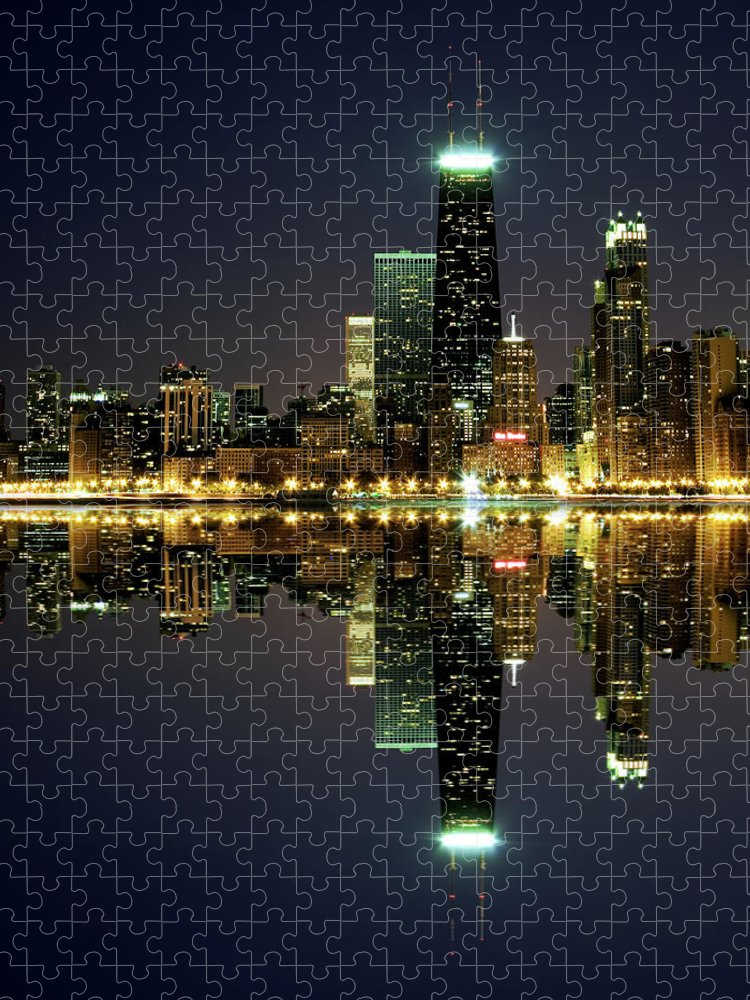 Lake Michigan Puzzle featuring the photograph Chicago Skyline Reflected On Lake by Pawel.gaul