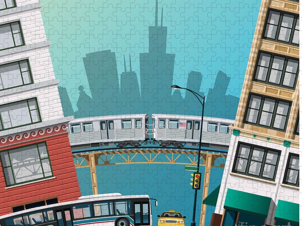 Bus Puzzle featuring the digital art Chicago Traffic by Nikola Knezevic