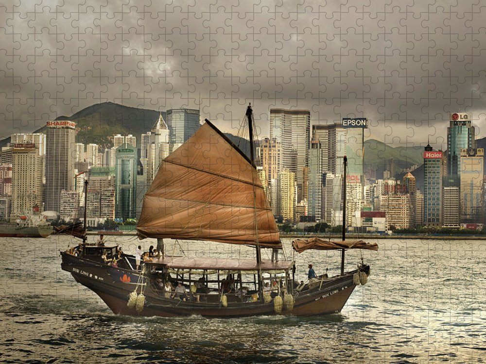 Sailboat Puzzle featuring the photograph China, Hong Kong, Junk Boat In Bay by Maremagnum