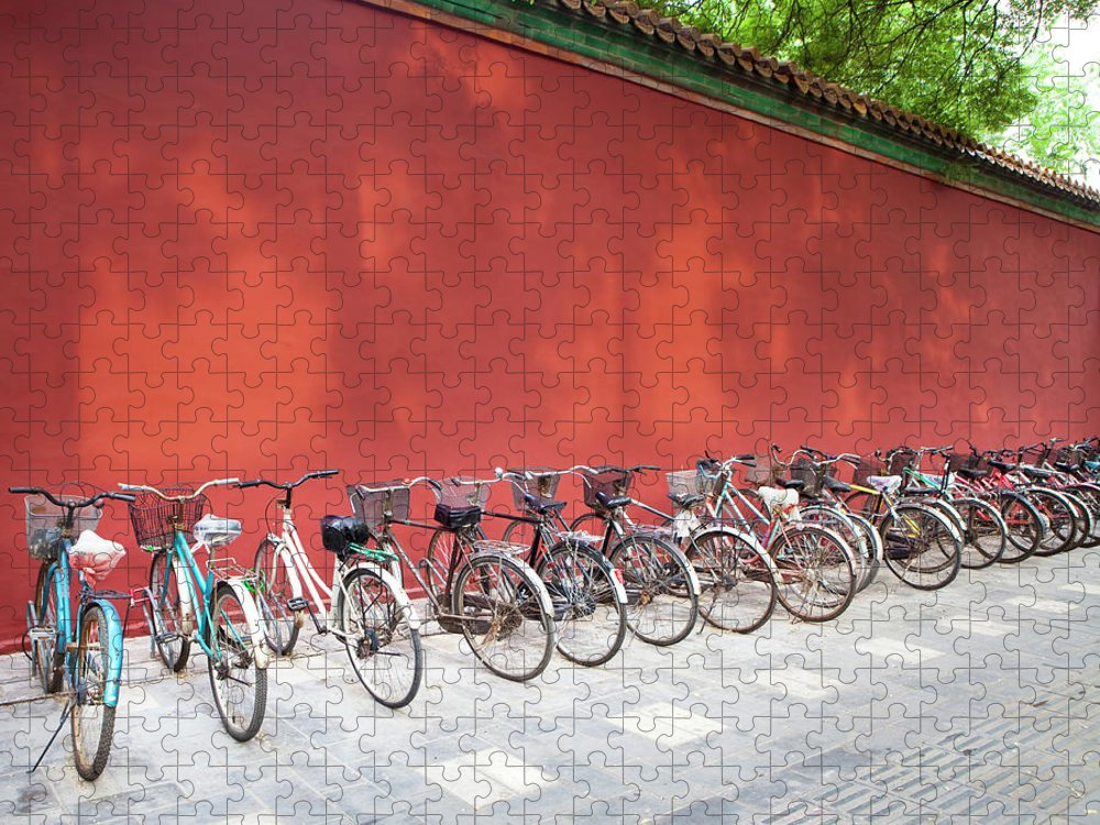 Shadow Puzzle featuring the photograph Chinese Bikes by Sam Diephuis