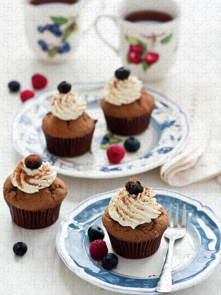 Temptation Puzzle featuring the photograph Chocolate Muffins With Berries by Verdina Anna