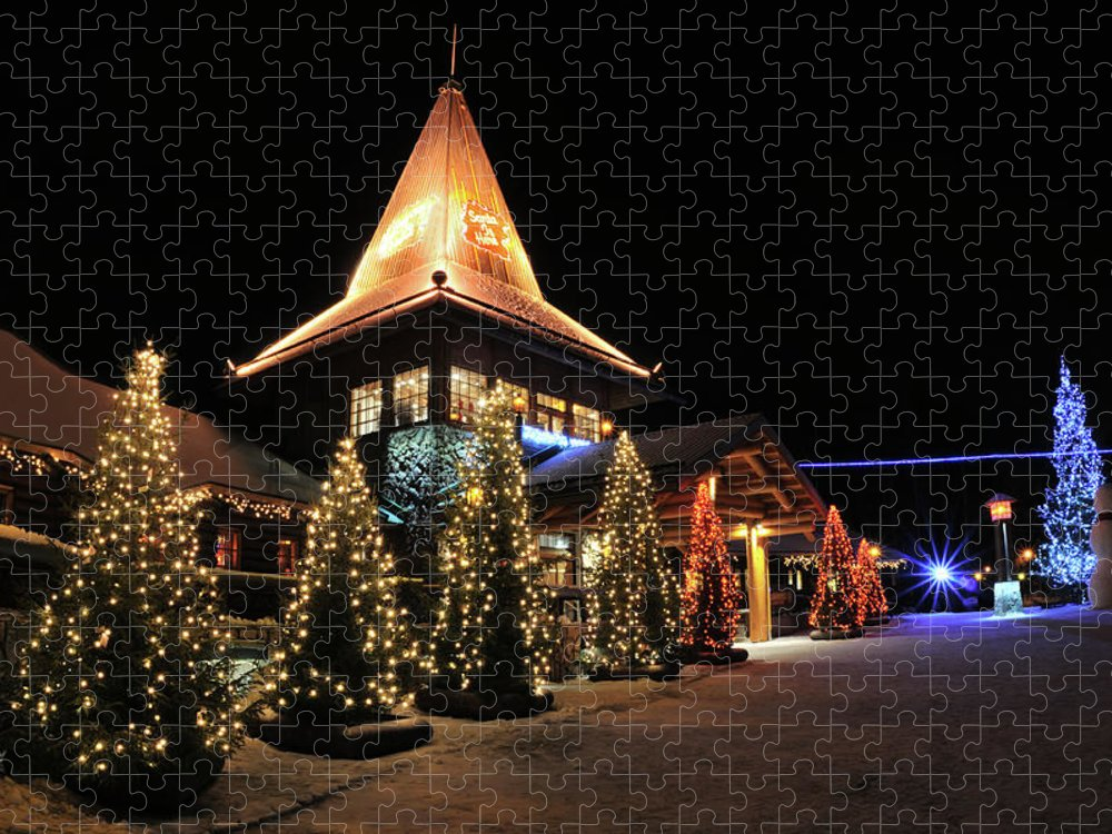 Holiday Puzzle featuring the photograph Christmas Decorated Town by Csondy
