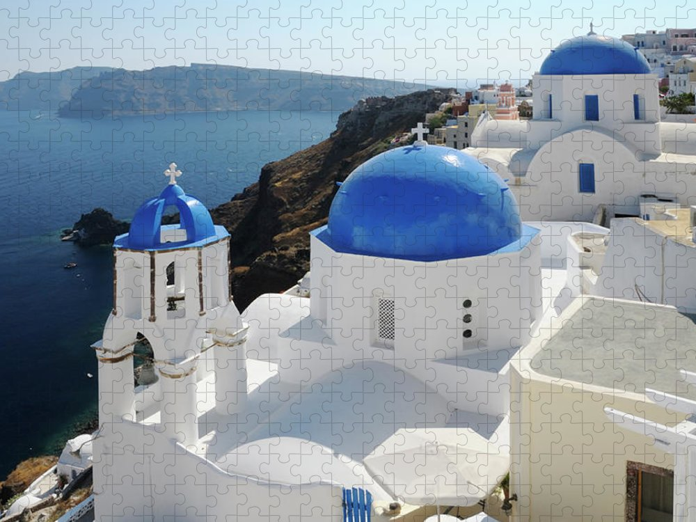Greek Culture Puzzle featuring the photograph Churches In Oia, Santorini, Greece by Tunart