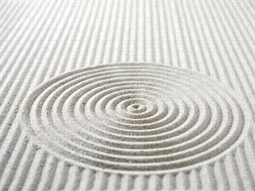 In A Row Puzzle featuring the photograph Circles And Lines In Sand by Wragg