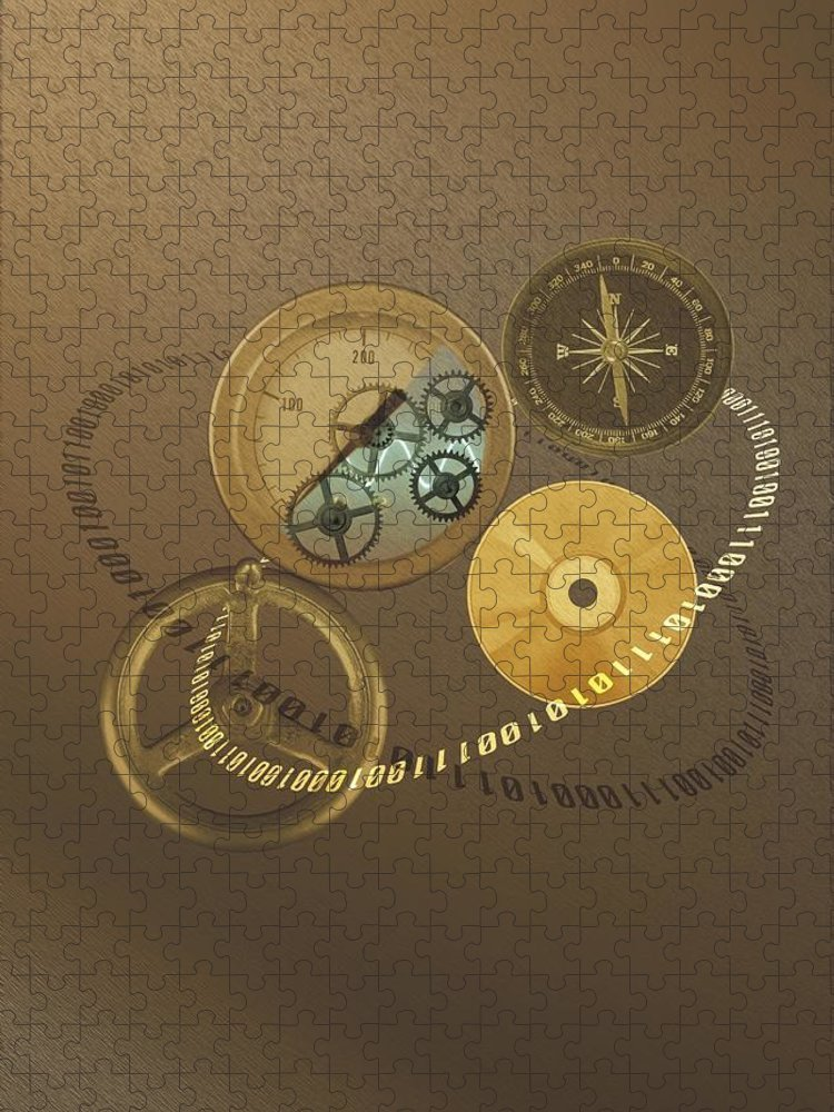 The Media Puzzle featuring the photograph Circular Objects And Binary Code, Cg by Daj
