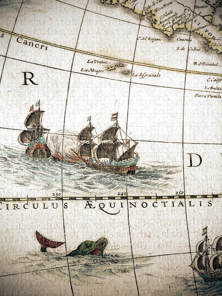 Engraving Puzzle featuring the digital art Circulus Aequinoctalis, Historical Map by Goldhafen