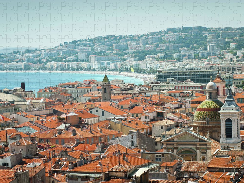 Water's Edge Puzzle featuring the photograph City Of Nice, France by Jeja