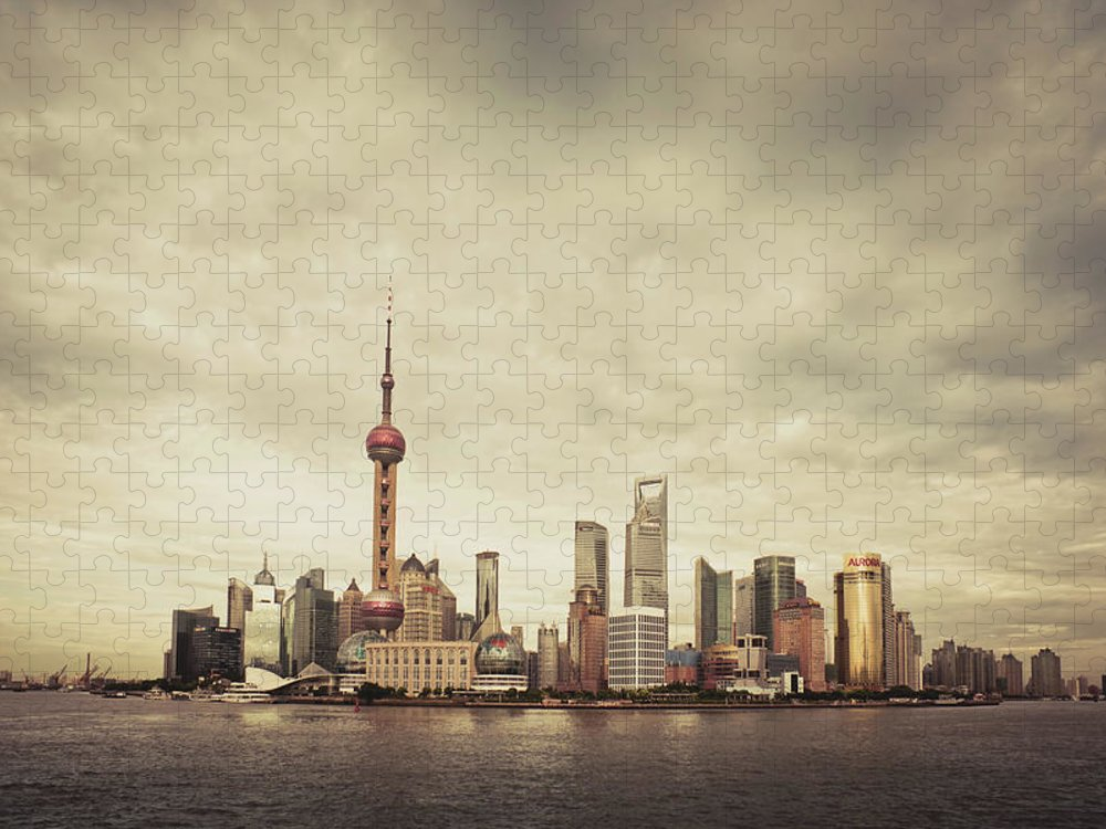 Communications Tower Puzzle featuring the photograph City Skyline At Sunset, Shanghai, China by D3sign