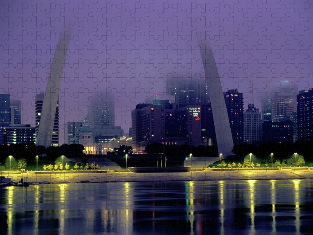 Arch Puzzle featuring the photograph City Skyline In Fog, With Gateway Arch by John Elk Iii