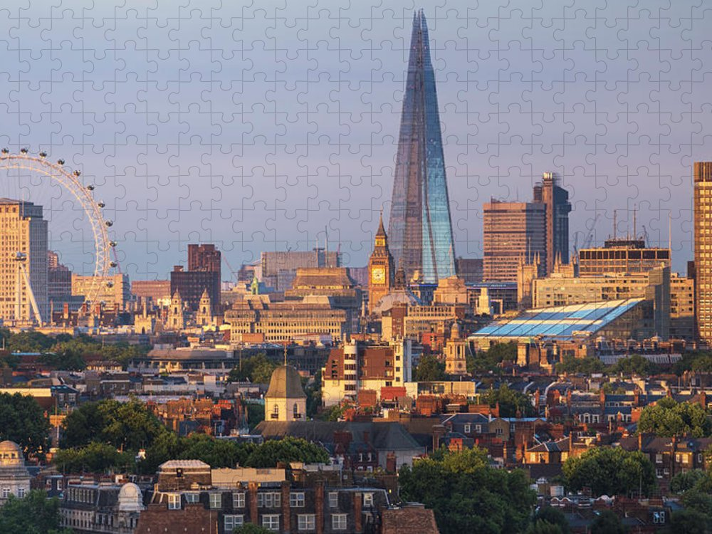 Tranquility Puzzle featuring the photograph City Skyline In Late Evening Sunlight by Simon Butterworth