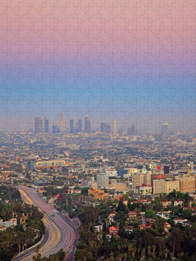 California Puzzle featuring the photograph Cityscape Of Los Angeles by Eric Lo