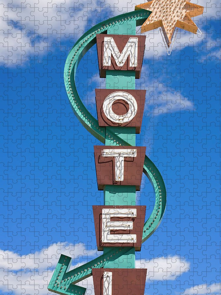 In A Row Puzzle featuring the photograph Classic Motel Sign by Elementalimaging
