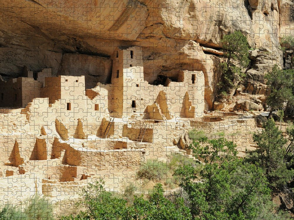 Mesa Verde National Park Puzzle featuring the photograph Cliff Palace In Mesa Verde, Colorado by Sshepard