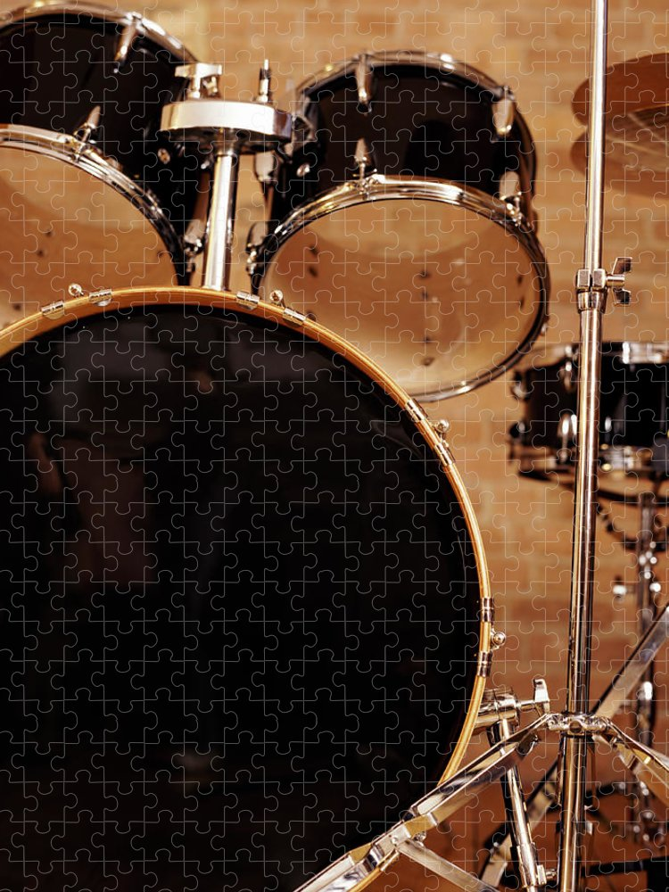 Microphone Stand Puzzle featuring the photograph Close-up Of A Drum Kit by Digital Vision.