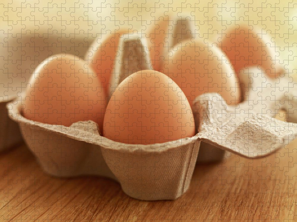 Free Range Puzzle featuring the photograph Close Up Of Brown Eggs In Carton by Adam Gault
