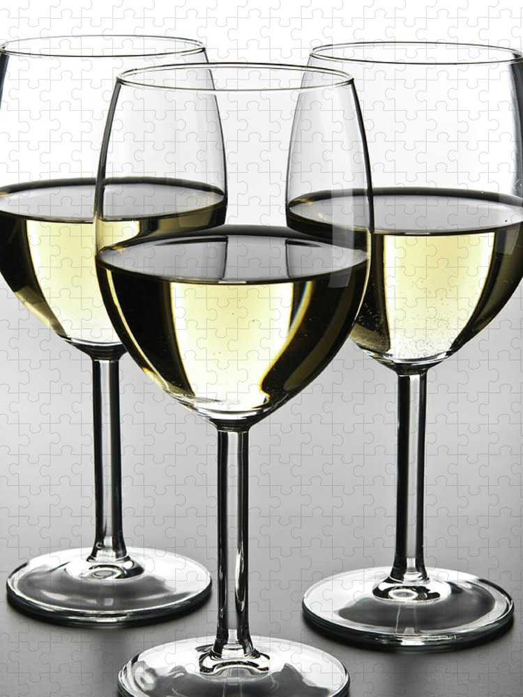 Alcohol Puzzle featuring the photograph Close-up Of Three White Wine Glasses by Domin domin