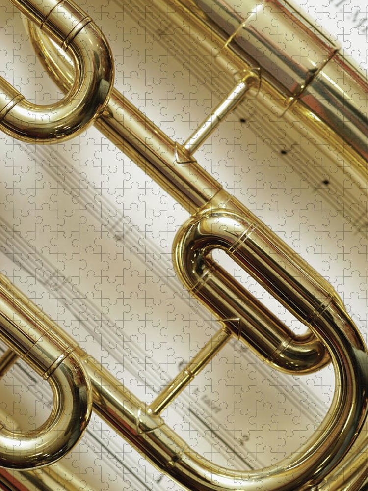 Sheet Music Puzzle featuring the photograph Close-up Of Trumpet by Medioimages/photodisc