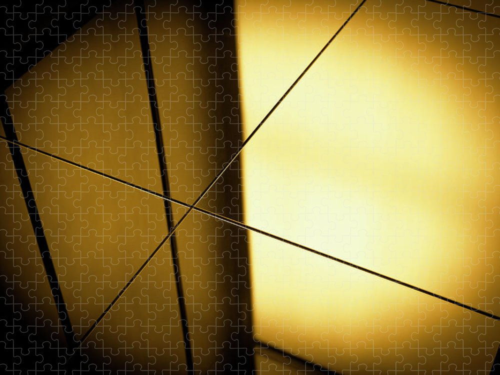 Shadow Puzzle featuring the photograph Close-up Spot Lit Reflection In Yellow by Ralf Hiemisch