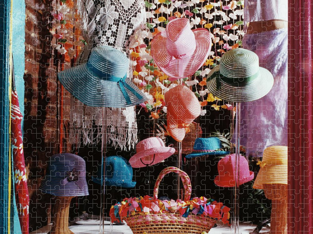 Straw Hat Puzzle featuring the photograph Clothing Store Window Display by Silvia Otte