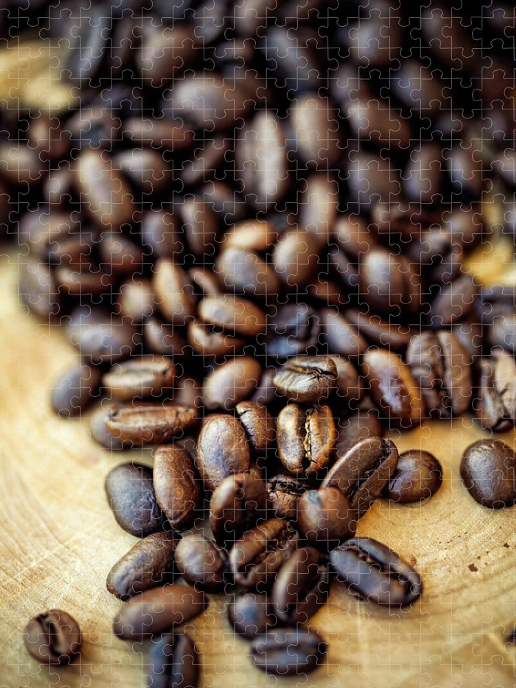 Black Color Puzzle featuring the photograph Coffee Beans by Chang