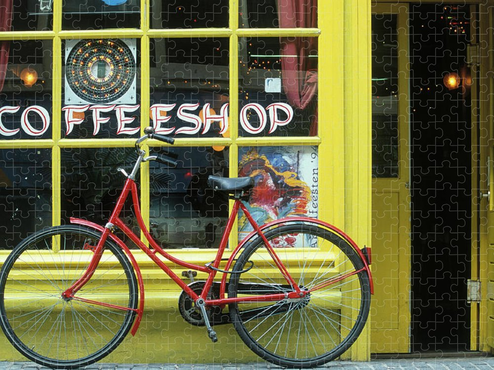 Built Structure Puzzle featuring the photograph Coffee Shop, Amsterdam, Netherlands by Peter Adams