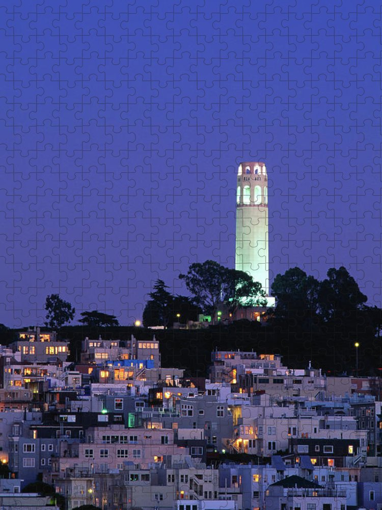 San Francisco Puzzle featuring the photograph Coit Tower, Telegraph Hill At Dusk, San by Thomas Winz