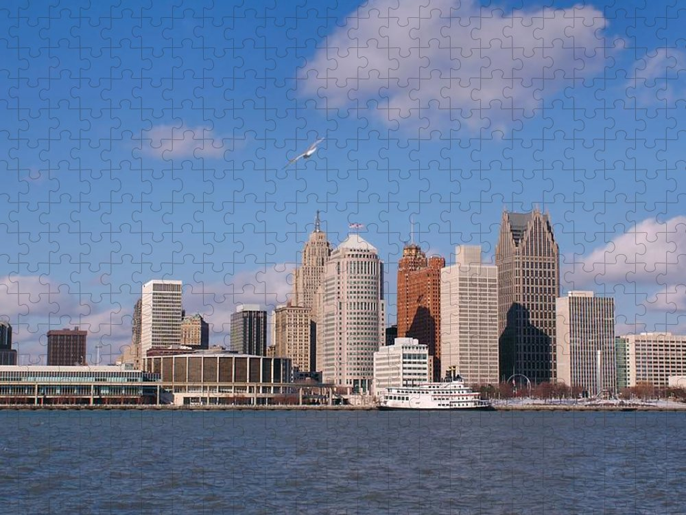 Downtown District Puzzle featuring the photograph Cold Detroit by Corfoto