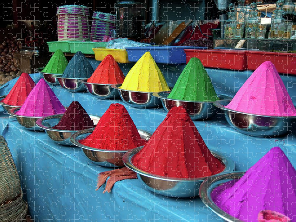 In A Row Puzzle featuring the photograph Colorful Dyes At Indian Market by Photo By Meredith Narrowe