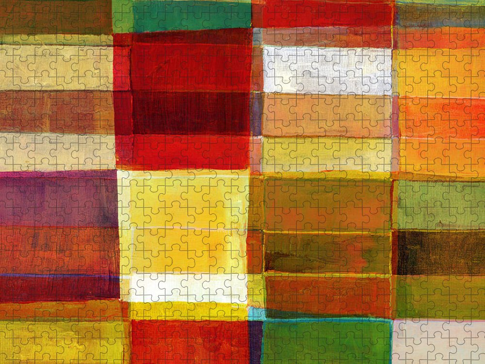 Rectangle Puzzle featuring the photograph Colorful Painted Block Pattern by Qweek
