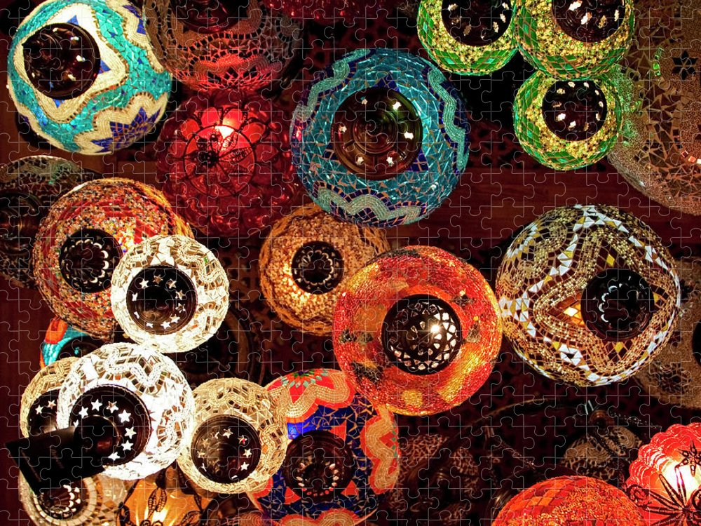Antique Shop Puzzle featuring the photograph Colorful Turkish Lanterns From The by Wldavies