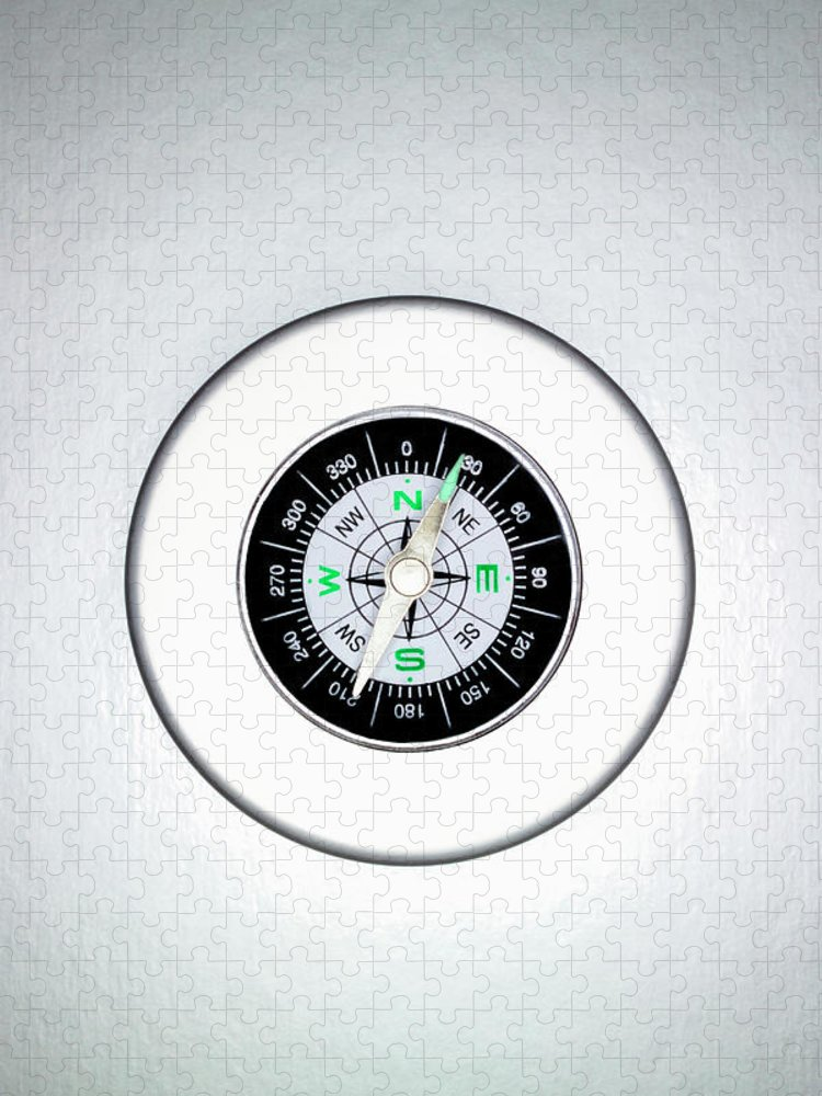 White Background Puzzle featuring the photograph Compass, Overhead View by Martin Poole