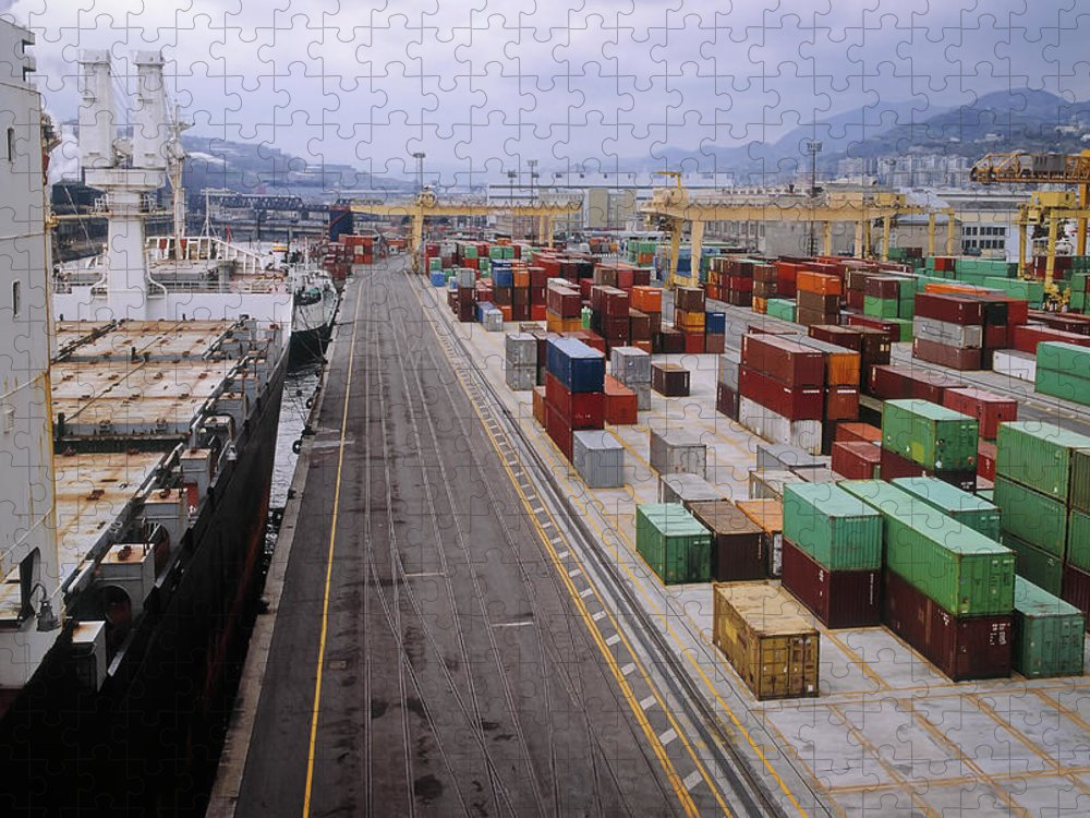 Freight Transportation Puzzle featuring the photograph Container Shipping, Port Of Genoa, Italy by Alberto Incrocci