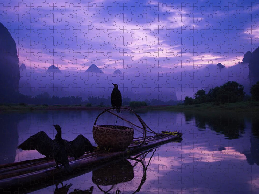 Chinese Culture Puzzle featuring the photograph Cormorant On Li River by Coffeeyu
