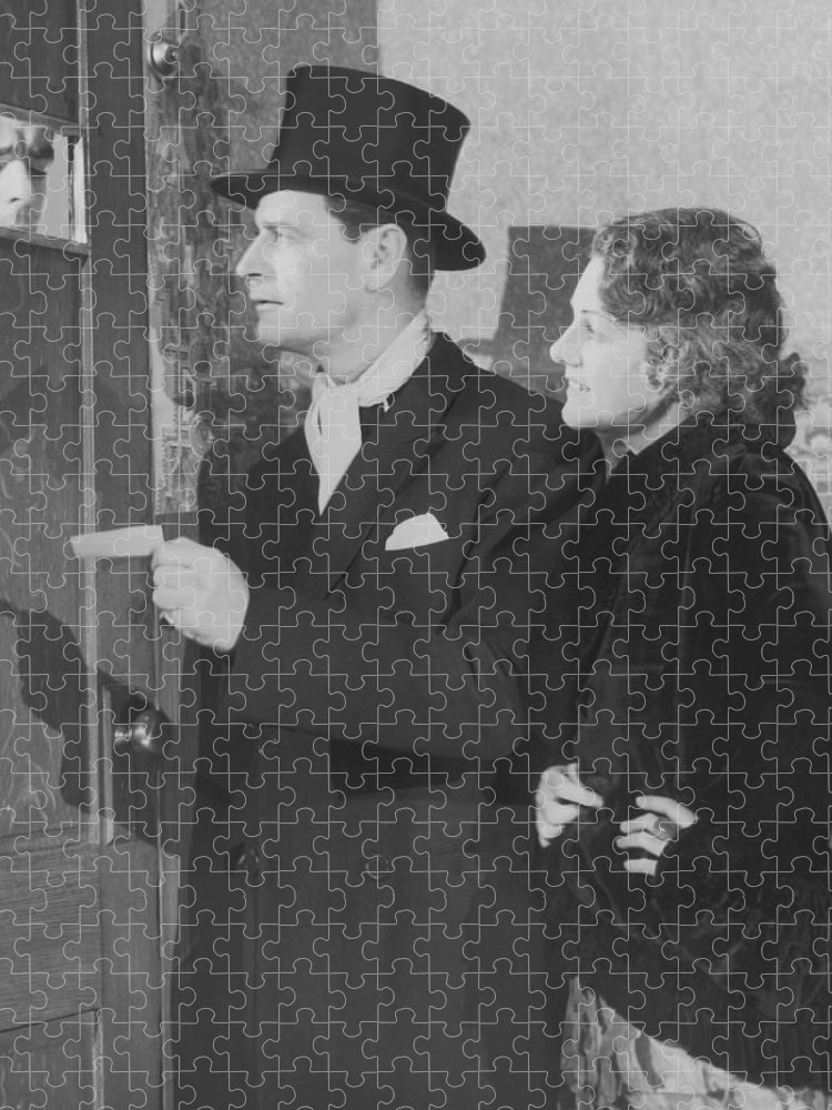 Young Men Puzzle featuring the photograph Couple In Formal Wear Showing Pass To by Fpg