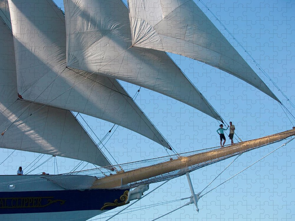 Heterosexual Couple Puzzle featuring the photograph Couple On Bowsprit Of Sailing Ship by Holger Leue