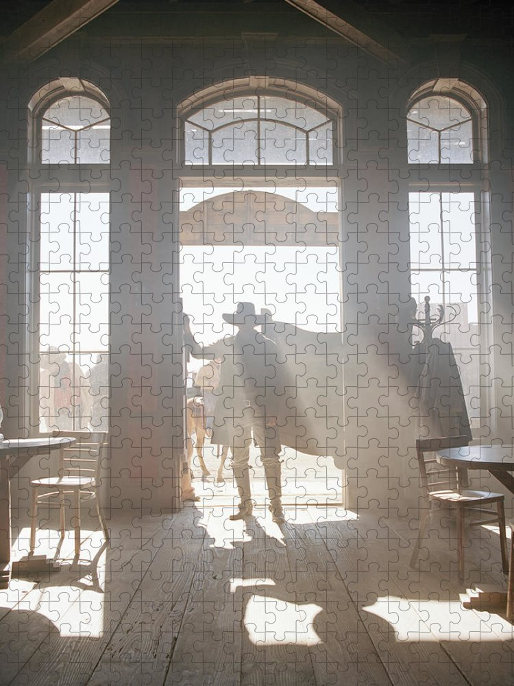 Shadow Puzzle featuring the photograph Cowboy At Saloon by Matthias Clamer