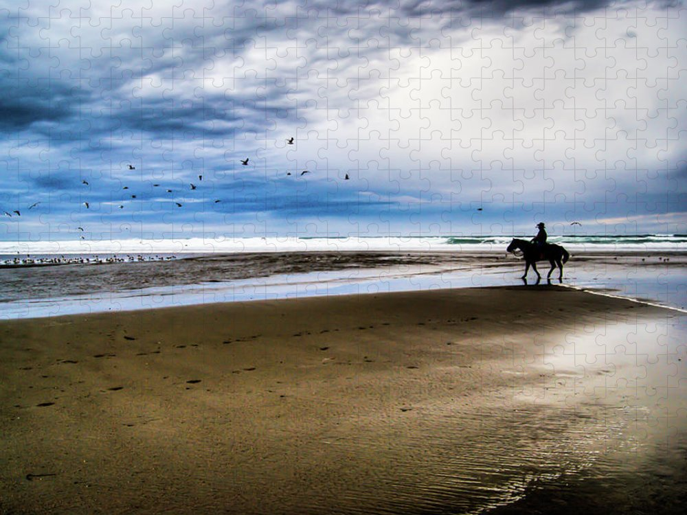 Horse Puzzle featuring the photograph Cowboy Riding Horse On Beach by D. R. Busch